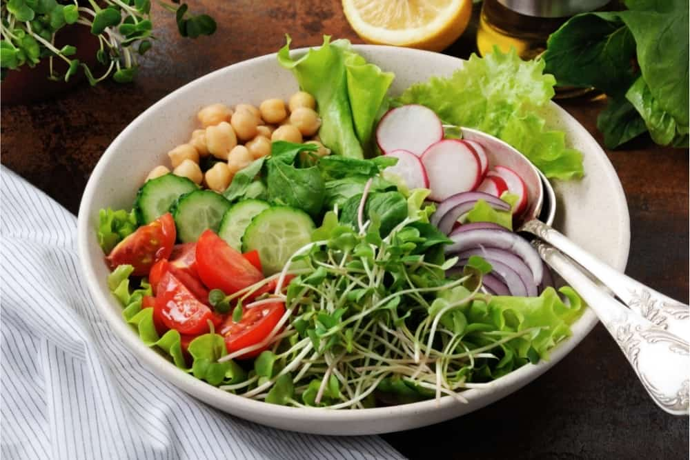 A beautiful Mediterranean salad of delicate leaves of lettuce and spinach